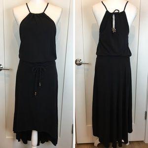 Athleta Knit Halter Hi Lo Stretchy Dress Black S